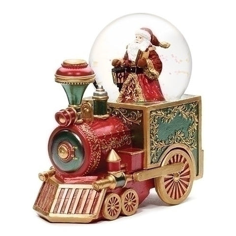 Roman Musical Santa Red Train with Faberge Detail Glitterdome