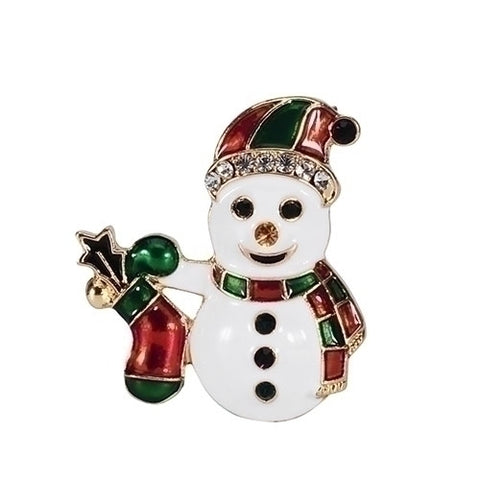 Roman Christmas Snowman with Stocking Pin