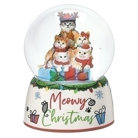 Roman Cat Christmas 100MM Dome In Tree Pile Windup Musical