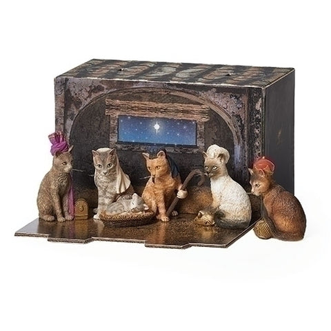 "Cat Pageant Creche Printed Box ""Purfect Pageant"" by Roman"