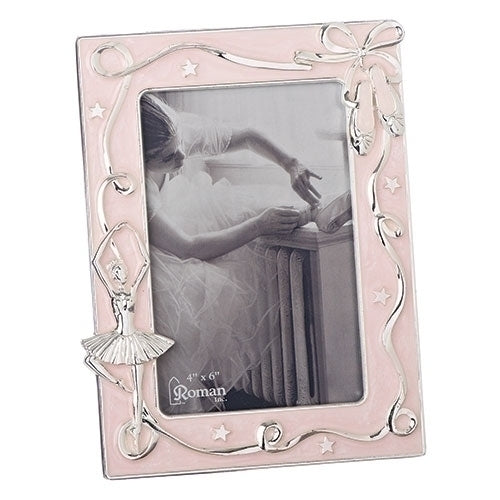 Roman Pink and Silver Ballet Picture Frame, 4x6