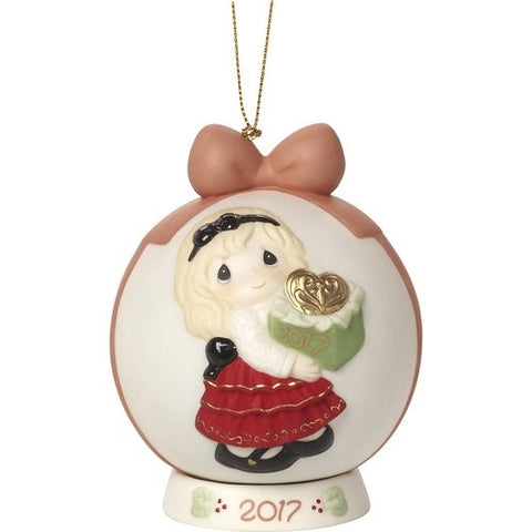 Precious Moments May The Gift Of Love Be Yours This Season Dated 2017 Bisque Porcelain Ball Ornament with Base