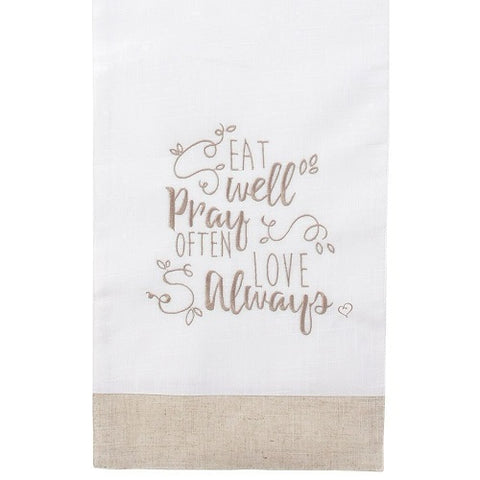 Bountiful Blessings, Eat Well Pray Often Love Always, Table Runner Precious Moments