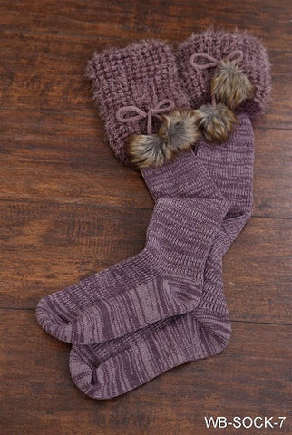 WB Baby Bum Boot Sock With Fur Asst - Ria's Hallmark & Jewelry Boutique - 1