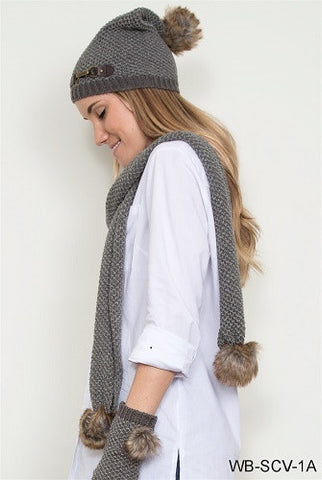 WB Bumble Straight Scarf With Fur - Ria's Hallmark & Jewelry Boutique - 1