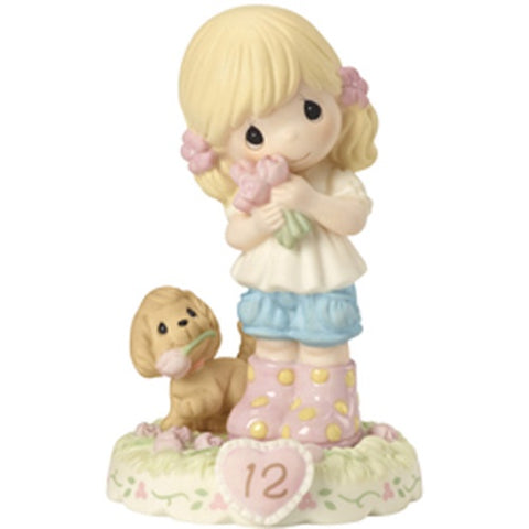 Precious Moments Growing In Grace Age 12 Blonde Girl Figurine