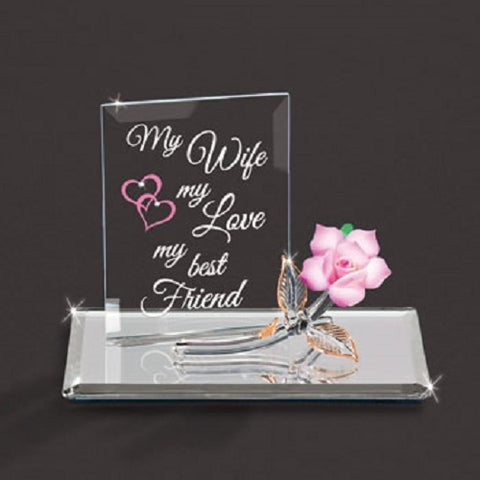 "Glass Baron ""My Wife, My Best friend"" with Pink Rose Figurine"