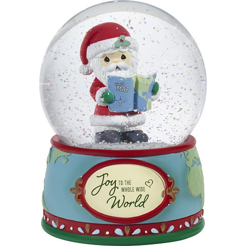 Joy To The Whole Wide World Annual Santa Musical Snow Globe