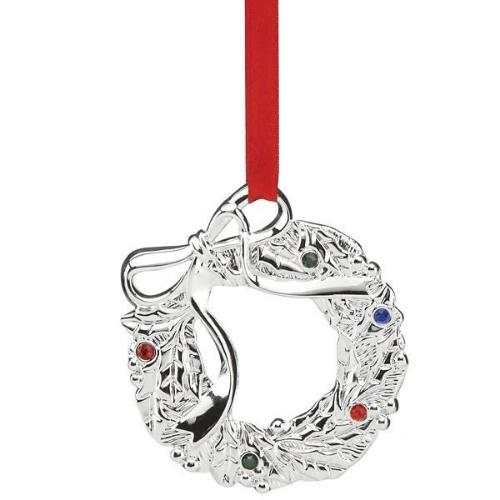 Jeweled Silver Wreath Charm Ornament by Lenox