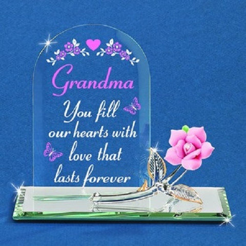 Glass Baron Plaque - Grandma, You Fill Our Hearts with Love - Ria's Hallmark & Jewelry Boutique