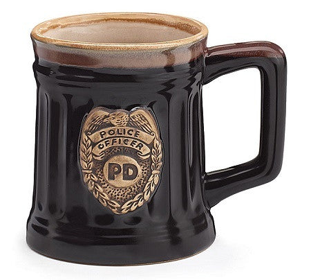 Police Officer Porcelain Coffee Mug with Police Department Crest Stein - Ria's Hallmark & Jewelry Boutique