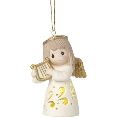 PRE ORDER LED Pierced Angel With Harp Hanging Ornament - Ria's Hallmark & Jewelry Boutique