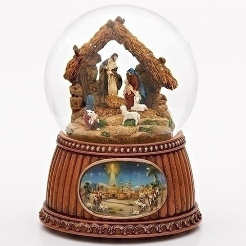 Christmas Nativity 100mm Musical Snow Globe Glitterdome