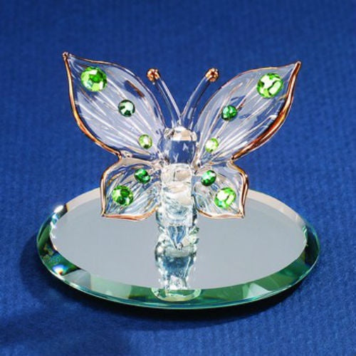 Glass Baron Green Crystals Butterfly Figurine