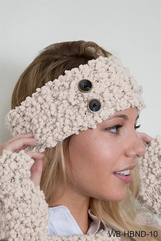 WB Shearling Headband With Buttons - Ria's Hallmark & Jewelry Boutique - 1
