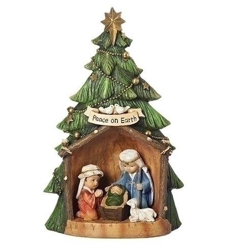 Roman Carved Christmas Tree Nativity with Animals