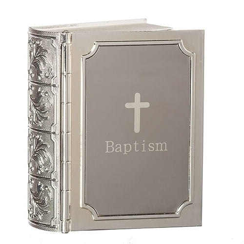 Silver Bible Baptism Keepsake Box - 3.5""