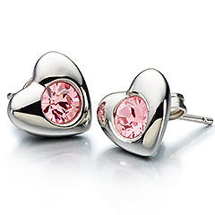 CHAMILIA Radiant Heart Pink Swarovski Earrings - Ria's Hallmark & Jewelry Boutique