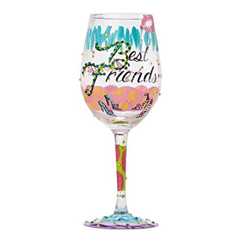 "Lolita Wine Glass ""Best Friends Always"" - Ria's Hallmark & Jewelry Boutique"