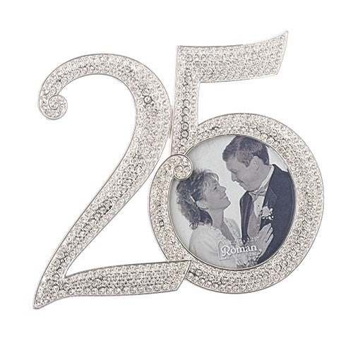 Roman 25th Rhinestone Frame by Caroline Collection