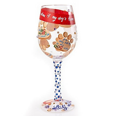 Lolita Wine Glass Love My Dog - Ria's Hallmark & Jewelry Boutique