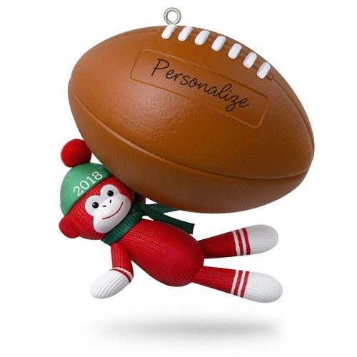 Football Star Sock Monkey 2018 Personalization Ornament