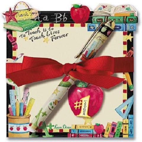 Lissom Design Diecut Notepad with Pen - #1 Teacher - Ria's Hallmark & Jewelry Boutique