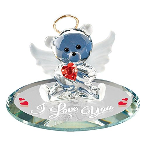 Glass Baron Angel Bear with Red Heart Figurine