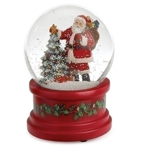 Roman Musical Santa With Christmas Tree Glitter Dome
