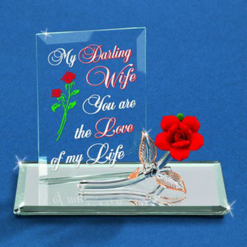 Glass Baron My Darling Wife Rose and Plaque - Ria's Hallmark & Jewelry Boutique