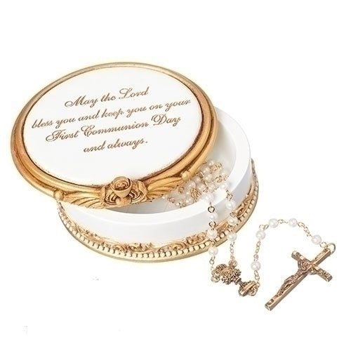 May The Lord Gold Tone Resin Stone Communion Keepsake Box