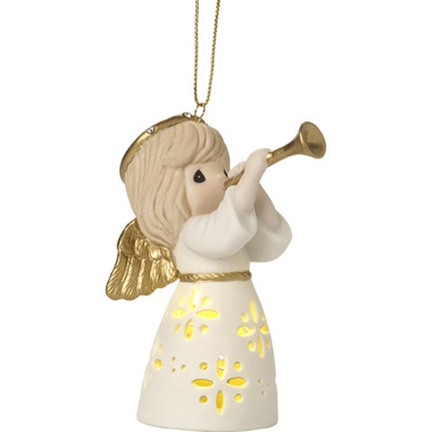 PRE ORDER LED Pierced Angel With Trumpet Hanging Ornament - Ria's Hallmark & Jewelry Boutique