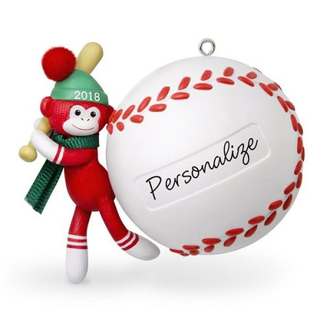 Baseball Star Sock Monkey 2018 Personalization Ornament