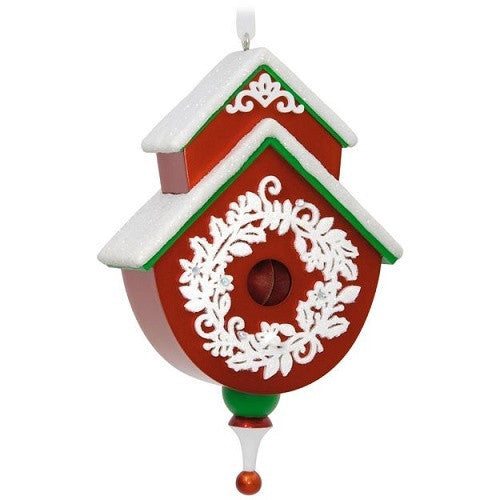 Red and Green Beautiful Birdhouse Ornament