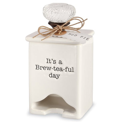 Mud Pie Ceramic Tea Caddy Dispenser