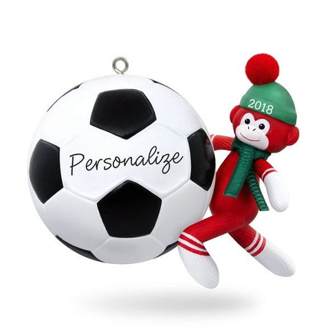 Soccer Star Sock Monkey 2018 Personalization Ornament