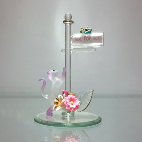 Glass Baron Cat and Mailbox 'Just for You' Figurine