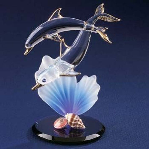 Glass Baron Dolphin & Baby Figurine with Seashells - Ria's Hallmark & Jewelry Boutique