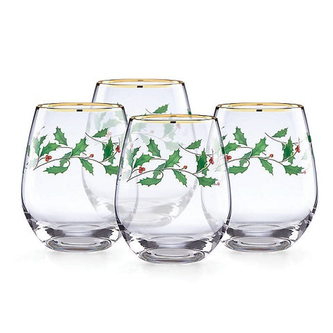Holiday™ 4-piece Stemless Wine Glasses
