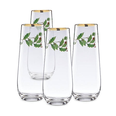 Holiday™ Stemless 4-piece Flute Set