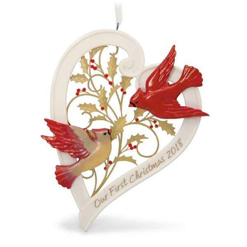 Our First Christmas Together Heart 2018 Porcelain Ornament