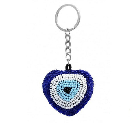 Handmade Beaded Keychain with Evil Eye - Ria's Hallmark & Jewelry Boutique
