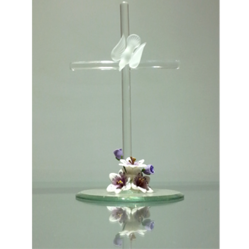 Glass Baron Beautiful Cross With Dove Figurine - Ria's Hallmark & Jewelry Boutique