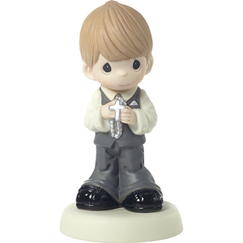 May His Light Shine In Your Heart Today And Always Bisque Porcelain Figurine Boy Blonde