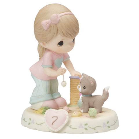 "Precious Moments ""Growing In Grace, Age 7"", Brunette Girl Figurine"