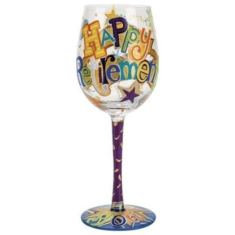Lolita Wine Glass Happy Retirement - Ria's Hallmark & Jewelry Boutique