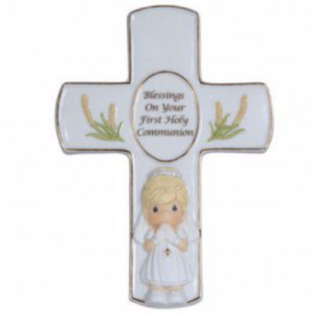 Precious Moments Blessings On Your First Holy Communion Girl Cross with Easel Stand - Ria's Hallmark & Jewelry Boutique