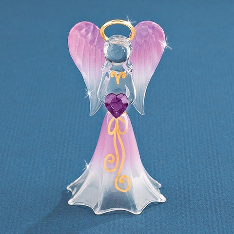 Glass Baron Angel Lavender With Crystal