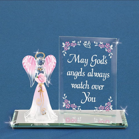 "Glass Baron ""Watch Over You"" Angel Figurine and Plaque"