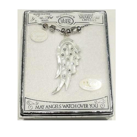 "GLASS BARON ANGEL'S WING PENDANT 18"" CHAIN - RIA'S HALLMARK SHOP"